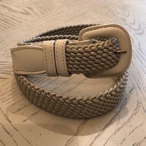 Accessories - Beige belt with woven elastic.